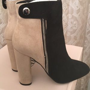 Just fab Yamahas Booties Black & Taupe